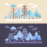 Flat forest scene with day and night Stock Image