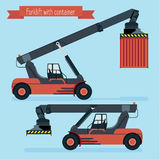 Flat forklift container. Two positions of the boom. With and without the container. blue background Royalty Free Stock Photos