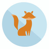 Flat fox icon. Excellent two-colored flat fox icon for your design stock illustration