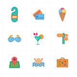 9 flat free travel icons. This is a vector illustration of 9 flat free travel icons Stock Image