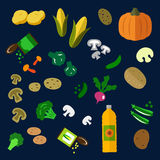 Flat fresh and canned vegetables icons Stock Photos