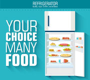 Flat fridge full of many food background concept. Royalty Free Stock Photo