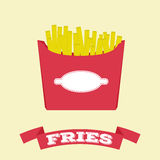 Flat fries in box vector fast food Royalty Free Stock Images