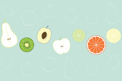 Flat Fruit Background. Vector illustration Stock Photos