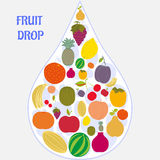Flat fruit icons collected in the form of a drop. Royalty Free Stock Images