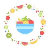 Flat fruits collection circle card Royalty Free Stock Photos