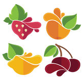 Flat fruits emblems Royalty Free Stock Photo