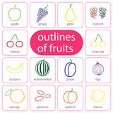 Flat fruits outlined coloured Royalty Free Stock Image