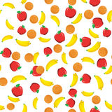 Flat fruits seamless pattern. Colored pattern of different fruits on a white background stock illustration