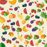 Flat fruits seamless pattern Royalty Free Stock Image