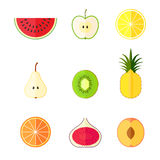 Flat fruits. Vector illustration Royalty Free Stock Image