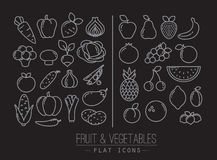 Flat Fruits Vegetables Icons Black Royalty Free Stock Photography