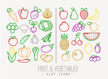 Flat Fruits Vegetables Icons Color Stock Photos