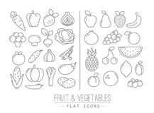 Flat Fruits Vegetables Icons. Set of flat fruits and vegetables icons drawing with black lines on white background Royalty Free Stock Photo