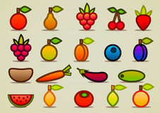 Flat fruits and vegetables. Set of flat different fruits and vegetables Stock Photography