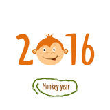 Flat funny brown monkey on a white background Stock Image