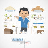 Flat funny charatcer asian farmer Stock Photography