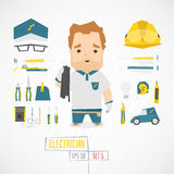 Flat funny charatcer electrician Stock Photos