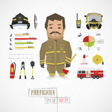 Flat funny charatcer firefighter. Set with icons and infographic Royalty Free Stock Images