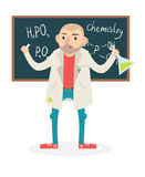 Flat funny vector chemistry teacher vector illustration. Flat funny vector chemistry professor holding tube vector illustration Stock Photo