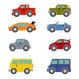 Flat funy cartoon city transport icon set: cars Royalty Free Stock Photos