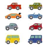 Flat funy cartoon city transport icon set: cars Royalty Free Stock Photos