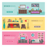 Flat Furniture Banner Set. Three horizontal flat furniture banner set interior design descriptions and button with link vector illustration royalty free illustration