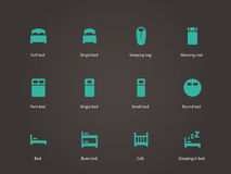 Flat furniture and bed icons set. Stock Image