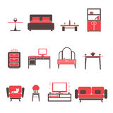 Flat Furniture Icons and Symbols Set for Living Room Isolated Vector Illustration Stock Image