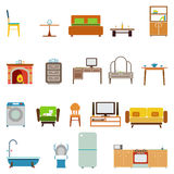 Flat Furniture Icons and Symbols Set for Living Room Isolated Vector Illustration Stock Images