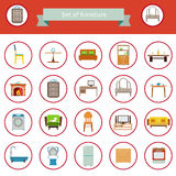 Flat Furniture Icons and Symbols Set for Living Room Isolated Vector Illustration Royalty Free Stock Photos