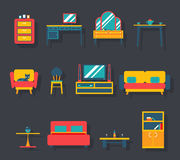 Flat Furniture Icons and Symbols Set for Living Royalty Free Stock Image