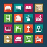 Flat furniture icons Royalty Free Stock Photos