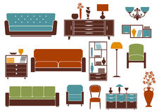 Flat furniture and interior accessories Stock Photos