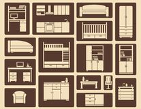 Flat furniture and interior icons Royalty Free Stock Image