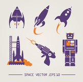 Flat future vintage space designs. Vector image. Vector image of different space items. retro or vintage styled rocket robot, laser gun, ufo and launch platform Stock Photos