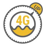 FLat 4g template with speed meter icon and wave. FLat 4g illustration with speedometer icon and wave. Dashed circle with arrow and UP word royalty free illustration