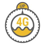 FLat 4g template with speed meter icon and wave. FLat 4g illustration with speedometer icon and wave. Dashed circle with arrow and UP word stock illustration