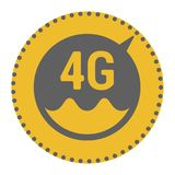 FLat 4g template with speed meter icon and wave. FLat 4g illustration with speedometer icon and wave. Dashed circle with arrow royalty free illustration