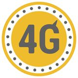 FLat 4g template with speed meter icon and wave. FLat 4g illustration with speedometer icon and wave. Dashed circle with arrow vector illustration