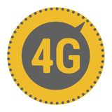 FLat 4g template with speed meter icon and wave. FLat 4g illustration with speedometer icon and wave. Dashed circle with arrow stock illustration