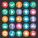 Flat game icons. Flat and round game icons set. Check my profile for more game graphics Stock Images