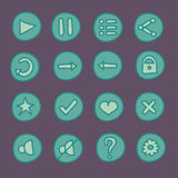 Flat game Ui buttons set in doodle style Stock Image
