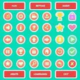 Flat Game UI Icon Set Buttons. Great flat button UI user interface icon pack vector design buttons set for game especially mobile game. There`s play button Stock Image