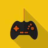 Flat gamepad with long shadow. Vector icon Stock Images