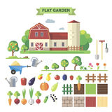 Flat  garden with farmhouse. Flat garden, vector set. Elements for game: sprites and tile sets. Vegetables, fruits Stock Image