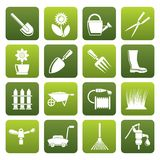 Flat Garden and gardening tools and objects icons royalty free illustration