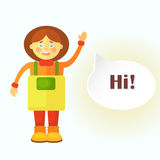 A flat gardener girl in yellow apron greets you. A cloud is displayed for the dialog with the finished text `Hi!`. Stock Photo