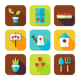 Flat Gardening and Flowers Squared App Icons Set Stock Photos