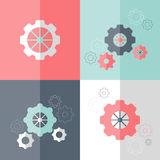 Flat gear wheel icons set Stock Image
